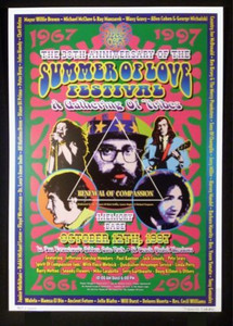 Summer of Love Anniversary Poster Golden Gate Park 1997 Signed by Dennis Loren