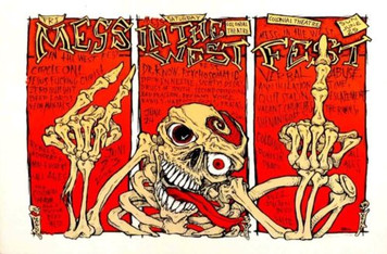 Mess in the West Fest Hardcore Punk Poster s/n 153 Hand Signed Paul Imagine