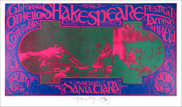 Shakespeare Festival Poster Santa Clara 1967 Original Printing Signed by Mouse