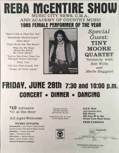 Reba McEntire Concert Dinner Dance Poster Tiny Moore Elk Grove 1985 Ships Free