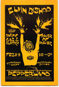 Elvin Bishop Handbill Tower of Power Pacific Gas Elec Pepperland San Rafael 1971