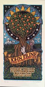 John Prine Tree of Forgiveness Tour Poster Kelsey Waldon Gary Houston S/N #5 COA