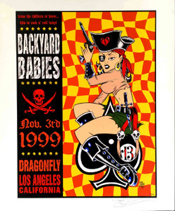 Backyard Babies Poster Dragonfly L.A. 1999 SN 350 Original Signed by Alan Forbes