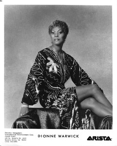 "Dionne Warwick Black Dress with Silver Stitching and Necklace 8""x10"" B&W Glossy Photo"