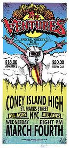 The Ventures Poster Coney Island High Signed Silkscreen Mark Arminski