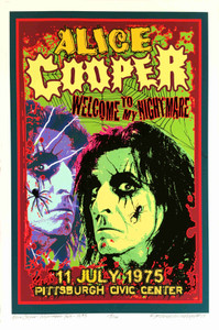 Alice Cooper Tribute Welcome to My Nightmare Tour 1975 New Print SN David Byrd