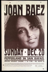 "Joan Baez Poster Pepperland San Rafael 14"" x 21"" 1970 Photo by Jim Marshall"