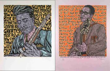 2 Poster Set: Muddy Waters Elmore James Original SN Silkscreens Gary Houston COA