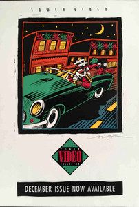 Tower Video Collector Orig Poster Christmas Santa Cruise 1990 Signed Mike Welch