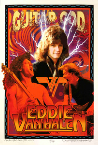 Eddie Van Halen Poster Guitar God Tribute Signed & Numbered 100 David Byrd COA