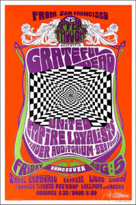 Grateful Dead Pender Auditorium Vancouver Bob Mass Signed Concert Poster