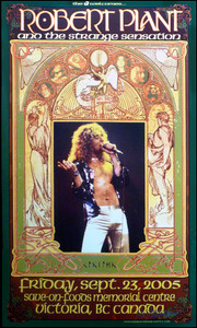 Robert Plant & the Strange Sensations Poster Signed Bob Masse Led Zeppelin