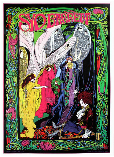 Syd Barrett Poster Original Pink Floyd Founder Tribute Signed by Bob Masse