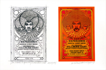 Jimi Hendrix Poster Fillmore East New Orig Image + Sketch Signed David Byrd
