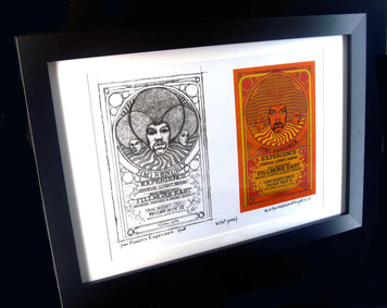 Jimi Hendrix '68 Fillmore East Poster New Artist Proof+Sketch Signed FRAMED