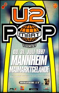 U2 Poster Pop Mart Tour Mannheim Rare German Bus Side 1997