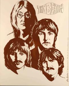 "Beatles ""Tan Portrait"" Rare Orig Poster by Collectors Features Tiberon 1974"