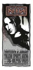 NIN Nine Inch Nails Original Poster Handbill Toledo 1996 Mark Arminski NM