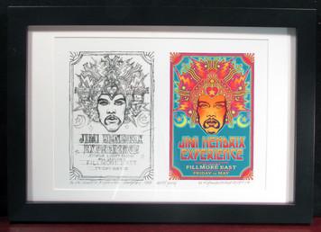 Jimi Hendrix 1968 Alternative Fillmore East Poster + Found Sketch Signed FRAMED