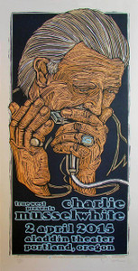 Charlie Musselwhite Poster Aladdin Theater 2015 Hand Signed by Gary Houston