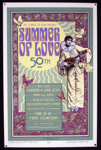 50th Anniversary Summer of Love Poster 2017 #1 Signed and Numbered by David Byrd