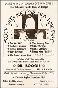 Bahamanian Teddy Bear Dr. Boogie Poster at Peanuts Taylor's Drumbeat Club 1985