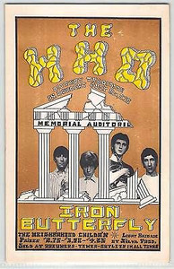 The Who Iron Butterfly Original Handbill Memorial Auditorium Sacramento 1968