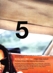 "Lenny Kravitz Hollywood Listening Party Invitation for His Album ""5"" 1998 4x6"