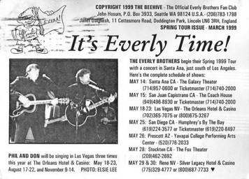 Everly Brothers Fan Club The Beehive Tour Announcement Postcard 1999 4x6