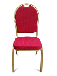 Round Back Aluminium Banqueting Chair. Red with Gold Frame