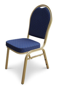 Round Back Aluminium Banqueting Chair. Blue with Gold Frame