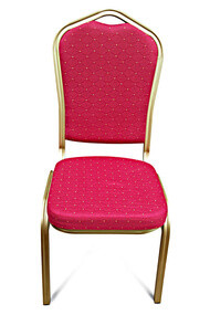 Shield Back Aluminium Banqueting Chair. Red with Gold Frame