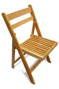 Folding Wooden Slatted Chair - Natural