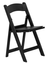 Resin Folding Padded Chair - Black