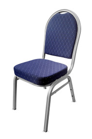 Round Back Steel Banqueting Chair. Blue with Silver Frame