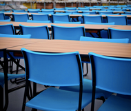 Stacking Plastic Cantilever Chairs - Blue