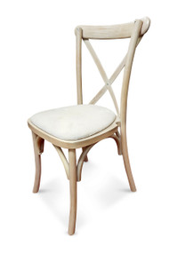 Limewash Cross Back Chair with White Ivory Seat Pad