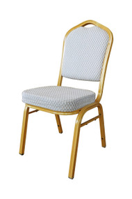 Shield Back Steel Banqueting Chairs. Gold with Gold Frame