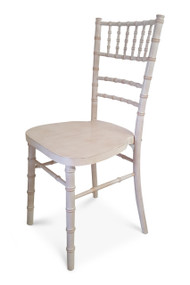 Curved Back White-Limewash Chiavari Chair. Diagonal