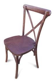 Cross Back Stacking Chair. Walnut