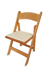 Folding Wooden Chair with Faux Leather Seat Pad