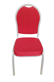Round Back Steel Banqueting Chair. Red with Silver Frame