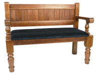 Dark Oak Church Pew. Seat Only Upholstery