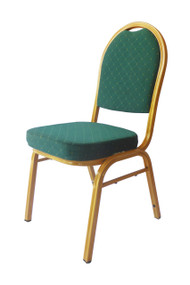 Metal Banqueting chair, Green with gold frame
