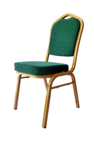 Shield back metal banqueting chair Green with gold frame