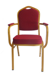 Shield Back Steel Banqueting Chair with Arms. Red with Gold Frame