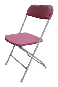 Folding Plastic Chairs - Burgundy