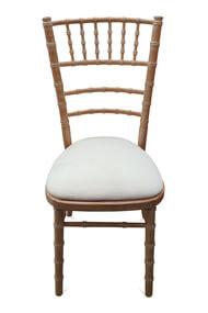 6-Spindle Curved Back Chiavari Chair. Natural Limewash