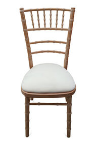 6-Spindle Curved Back Chiavari Chair. Natural Limewash, Front View