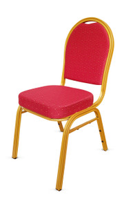 Round Back Steel Banqueting Chair. Red with Gold Frame
